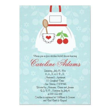 Cherry Apron Bridal Shower Invitations Red and Blue