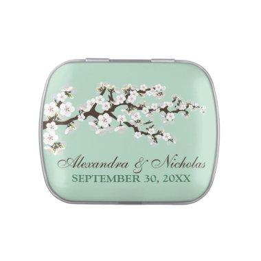 Cherry Blossoms Custom Wedding Favor Tins (mint)