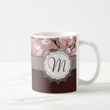 Cherry Blossoms with Lace Monogram Coffee Mug