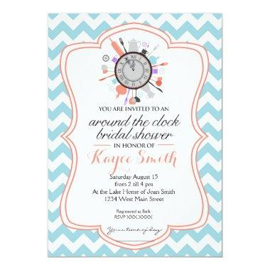 Chevron Around the Clock Bridal Shower Invitations