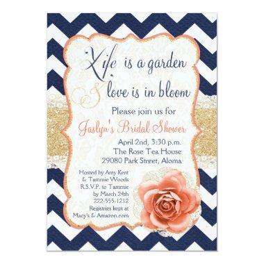 Chevron Garden Bridal Shower Invitations