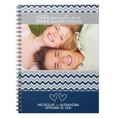 Chevron Pattern Wedding Planner Notebook (navy)