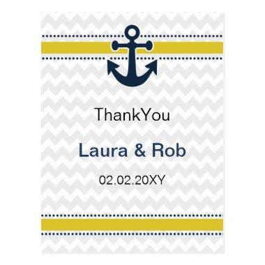 chevron stripes, anchor, nautical Thank You Invitations