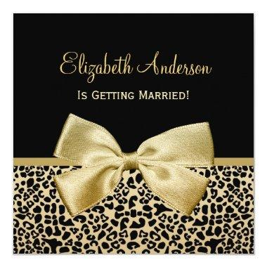 Chic Black and Gold Leopard Print Bridal Shower Invitations