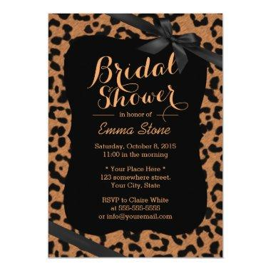Chic Black Ribbon Leopard Print Bridal Shower Invitations