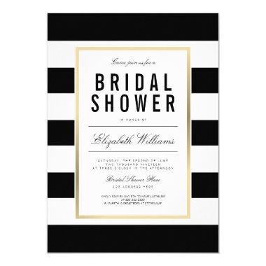 Chic Black White Striped Gold  Invite