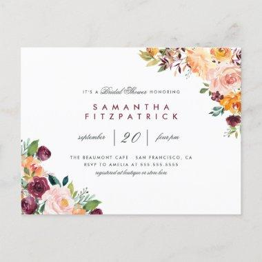 Chic Blush & Burgundy Floral Bridal Shower Invitation PostInvitations