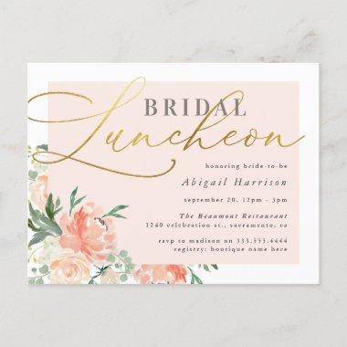 Chic Blush & Gold Script Floral Bridal Luncheon Invitation PostInvitations