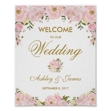 Chic Blush Pink Floral Wedding Poster Welcome Sign