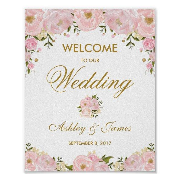 905 chic blush pink floral wedding poster welcome sign