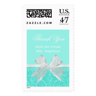 Chic  Thank You Aqua Damask White Bow Postage