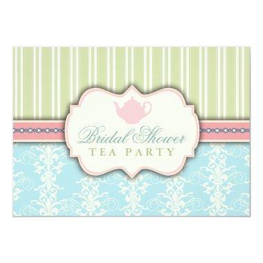 Chic Damask & Stripe Bridal Shower Tea Invitations