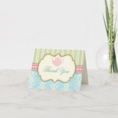 Chic Damask & Stripe Tea Thank You Invitations