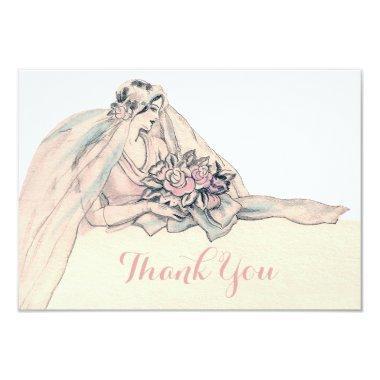 Chic Edwardian Flapper Bride Vintage Thank You