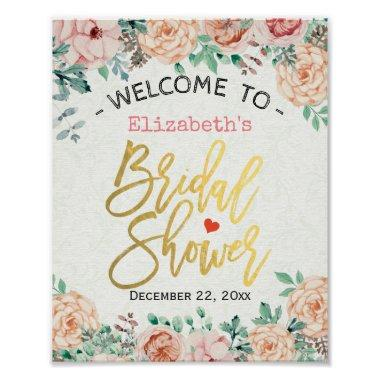 Chic Elegant Watercolor Floral  Sign