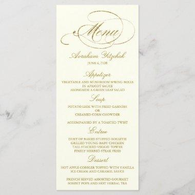 Chic Faux Gold Foil Party Menu Template - Ivory