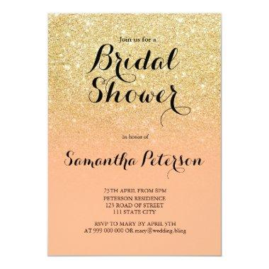 Chic faux gold glitter coral bridal shower Invitations