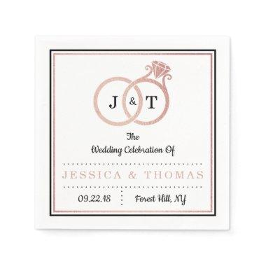Chic Faux Rose Gold Foil Monogram Wedding Rings Napkins