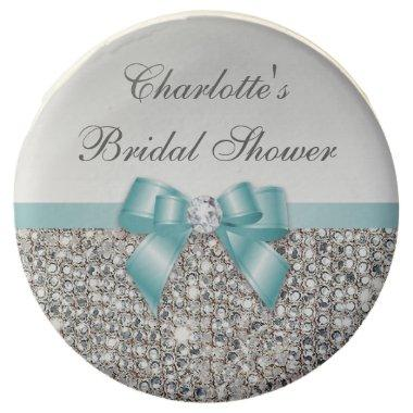 Chic Faux Silver Sequins Teal Bow  Chocolate Dipped Oreo