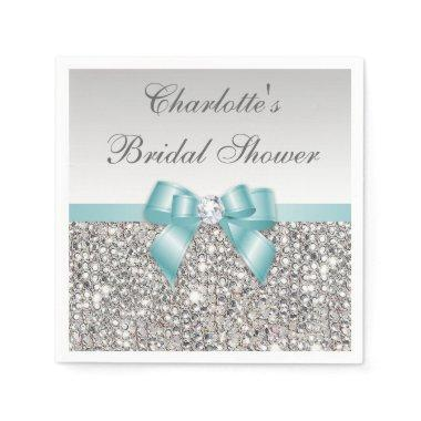 Chic Faux Teal Bow Silver Sequins  Napkin
