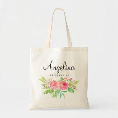 Chic Floral Bridesmaid Personalized-6 Tote Bag