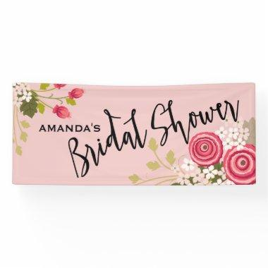 Chic Floral Garden Bridal Shower Celebration Banner