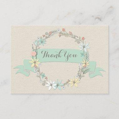 Chic Floral Wreath and Banner Thank You
