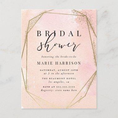 Chic Gold Geometric Blush Pink Bridal Shower Invitation PostInvitations