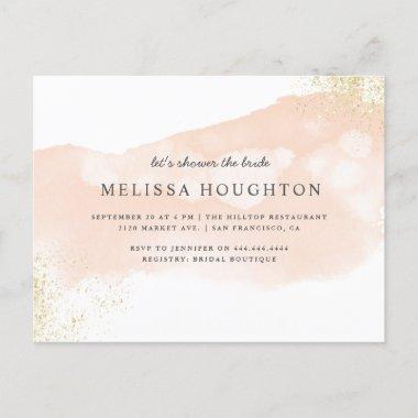 Chic Gold Glitter Blush Pink Bridal Shower Invitation PostInvitations