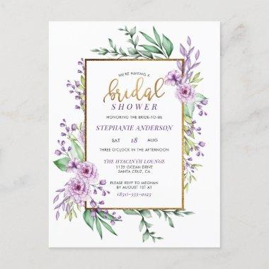 Chic Gold Glitter Script Botanical Bridal Shower Invitation PostInvitations
