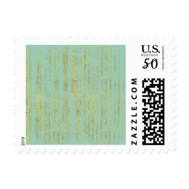Chic Gold Stripes on Mint Postage