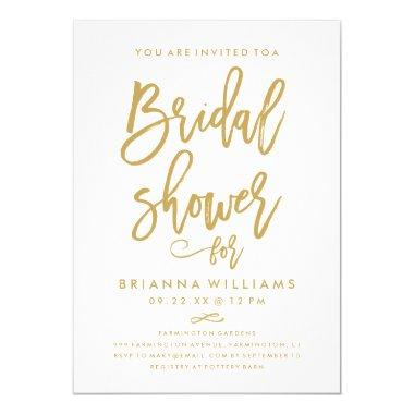 Chic Hand Lettered Gold Wedding