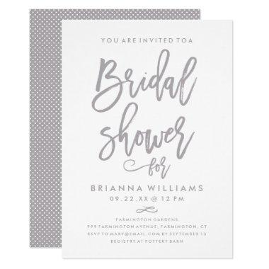 Chic Hand Lettered Wedding  Silver