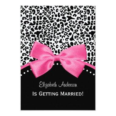 Chic Leopard Print Bridal Shower With Pink Ribbon Invitations