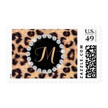 Chic Leopard Print Monogram Wedding Favor Postage
