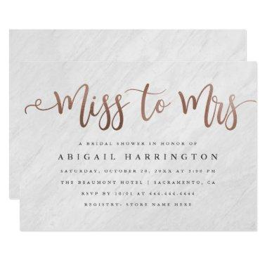 Chic Marble & Rose Gold Miss to Mrs Bridal Shower Invitations