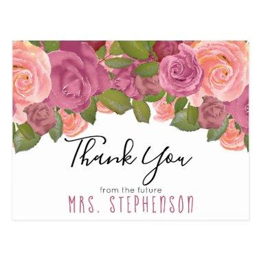 Chic Mauve Floral Watercolor Bridal Thank You PostInvitations