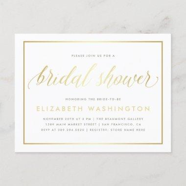 Chic Minimalist Gold Calligraphy Bridal Shower Invitation PostInvitations