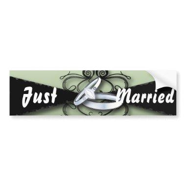 Chic Mint Green and Black Wedding Favor Bumper Sticker