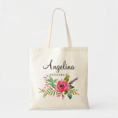 Chic Pink Floral Bridesmaid Personalized Tote Bag