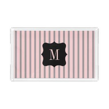Chic Pink Gray Striped Pattern Monogram Initial Serving Tray