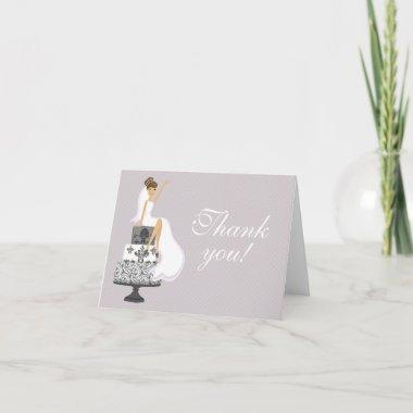 Chic Pink Modern Bride Bridal Shower Thank You