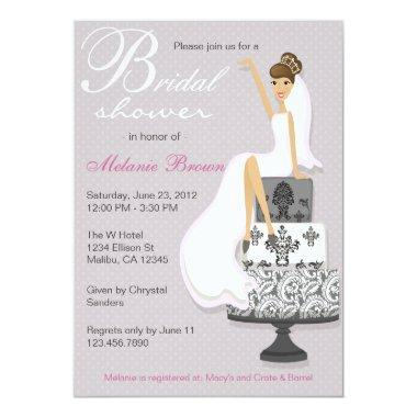 Chic Pink Modern Bride Contemporary Bridal Shower Invitations