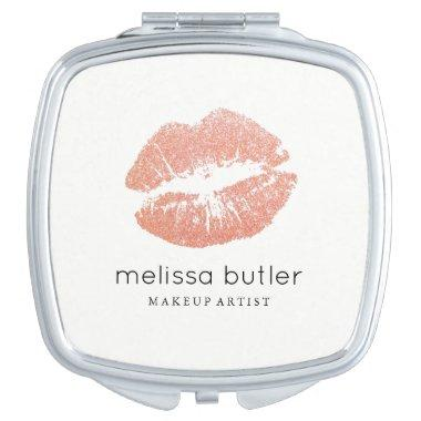 Chic Pink Rose Gold Lips Makeup Artist Compact Mirror
