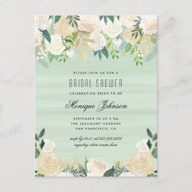 Chic Soft Watercolor Flowers Bridal Shower Invitation PostInvitations