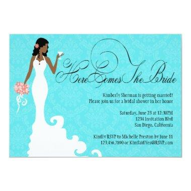 Chic Teal Black Coral Damask Here Comes the Bride Invitations
