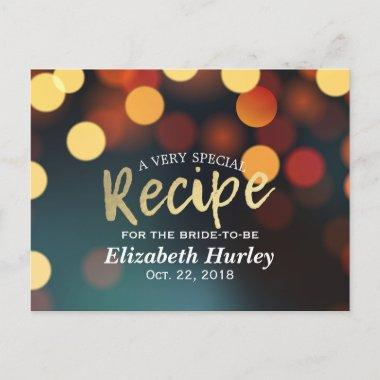 Chic Teal Gold Bokeh Lights  Recipe Invitation Post