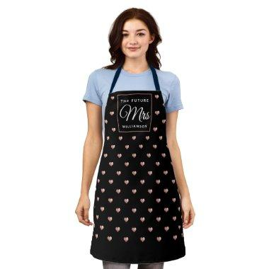 Chic THE FUTURE MRS Rose Gold Hearts Black Adult Apron