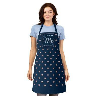 Chic THE FUTURE MRS Rose Gold Hearts Navy Blue Apron