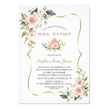 Chic Watercolor Blush Floral Gold Bridal Tea Party Invitations